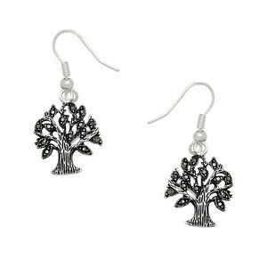 Tree of Life Fashionable Earrings - Fish Hook - Marcasite - Sparkling Crystal
