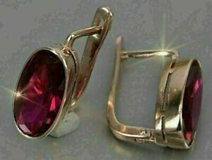 WOMEN'S 3Ct Oval Cut Diamond Red Ruby Hoop Earrings 14K Rose Gold Finish