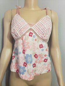 Valerie Stevens Studio Pajama Top Size M Medium Pink Floral Cami Spaghetti Strap