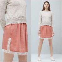Petal Pink Satin Lace Mini Slit Skirt Mango Size S M 8 10 US 4 6 Zara Blogger ❤