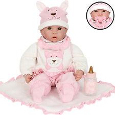 Kinderpuppe Puppe mit Fläschchen & Kuscheldecke Spielzeugpuppe Babypuppe Emilia