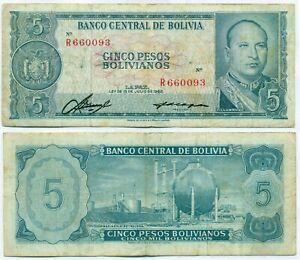 BOLIVIA NOTE 5 PESOS BOLIVIANOS 1962 P 153