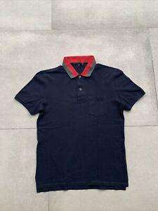 Gucci Men's Blue Polo Shirt Striped Collar Size Medium Nice