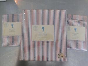 NEW Pottery Barn Kids F/Q Full Queen Multi Stripe Duvet & 2 Shams ORANGE/BROWN