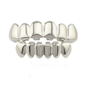 Hip Hop Grills Fit Flat Top and Bottom Set Grillz Silver Color Bling Teeth Caps