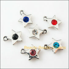 6 New Charms Glass Crystal Mixed Star Tibetan Silver Pendants 11.5x14mm