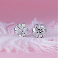 4Ct Round Cut Moissanite Push Back Solitaire Stud Earrings 14K white Gold Finish