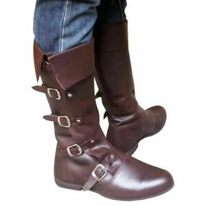 Medieval Leather Boots Brown Re-enactment Mens Shoe Larp Role Genuine Leather