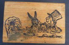 """Vtg Alice in Wonderland Mad Hatter Rabbit rubber stamp 3"""" x 2"""""""