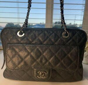CHANEL Caviar Paradoxal Camera Case Handbag Purse Tote Black w/ Silver Hardware