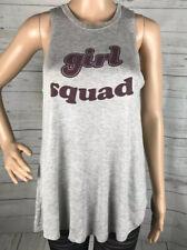 Girl Squad Tank Top Juniors Large Gray Burgundy Casual Shirt Cheerleader School