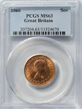 More details for 1966 gold sovereign elizabeth pcgs ms63 uncirculated bu coin uk sov britain