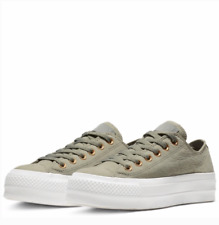 New Converse CTAS Clean Lift OX Sneakers Green Dark Stucco Size 10.5