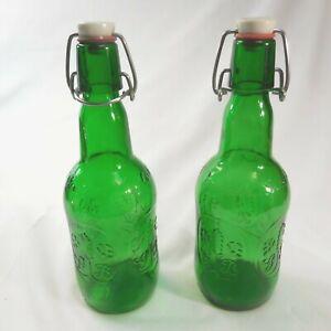 2 Vintage Grolsch Green Embossed Beer Bottles Porcelain Swing Cap CLEAN EMPTY