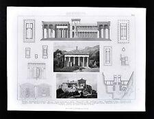 1874 Bilder Architecture Print - Ancient Greece Athens Acropolis Parthenon Plans