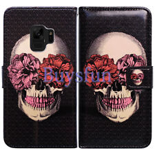 Bcov Red Teeth Flower Skull Leather Wallet Cover For Samsung Galaxy S9 Plus/+