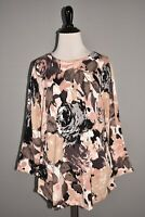 ISAAC MIZRAHI LIVE! NEW $54 Floral Printed Sweater w/ Curved Hem Medium