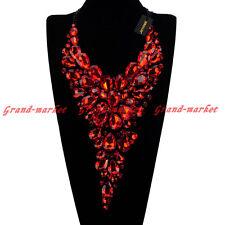 Fashion Black Chain Resin Acrylic Crystal Choker Statement Pendant Bib Necklace