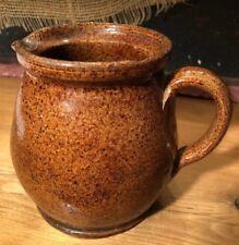 Antique Old Stoneware Pottery Pitcher Crock Jug Brown Salt Glazed Redware