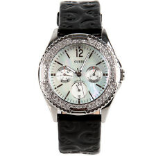 NEW GUESS BLACK LEATHER+CRYSTAL,MOP DIAL,MULTI FUNCTION,WATERPRO WATCH-G96022L