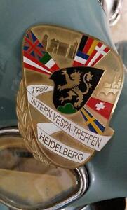 vintage VESPA HEIDELBERG club 1959 RALLY BADGE GS ACMA PLAKETTE EMBLEM treffen
