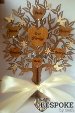 Personalised Wooden Family Tree 30cm With Stand Fathers Day Gift Mum Nan Love