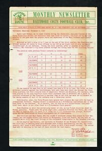 1949 Baltimore Colts AAFC Football Newsletter Post-Game Report Game No. 6