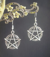 Large Vintage Style Pentagram Charm Drop Earrings - Wicca Pagan Witch