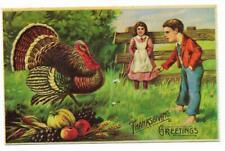 Vintage Greetings Postcard Merrimack Replica of Antique Original Thanksgiving