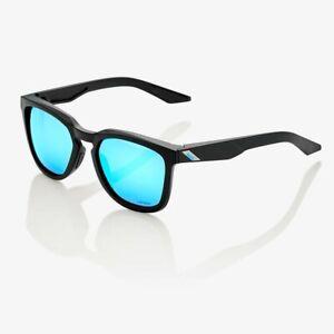 100% Active Performance Sunglasses - Hudson Matte Black - HiPER Blue Mirror Lens