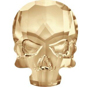 Skull flat back hot fix 2856 10x7.5mm Golden Shadow Swarovski© Crystal -10 pack
