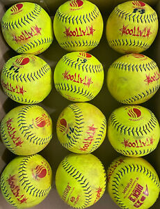 Dozen 12 Lightly Used Slow Pitch Softballs. 12 Inch Composite. USSSA Approved.