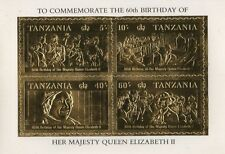 60th BIRTHDAY OF QUEEN ELIZABETH II TANZANIA GOLD LEAF STAMP SHEETLET