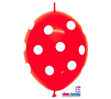 "10ct. RED & WHITE POLKA DOT Link-o-Loon 12"" Latex Helium Linking Balloons ARCHES"
