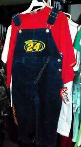 VINTAGE CHASE #24 JEFF GORDON KIDS CORDUROY OVERALL SHIRT SET KIDS YOUTH 3T NWT