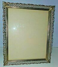VTG 8x10 Ornate Gold tone Metal Lattice Filigree Picture Frame SATIN Backing
