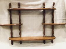 Vtg WOOD Wooden Wall Decor Curio 5 Tiers Spindle MCM Mid-Century Display Shelf