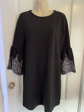 NEW LOOK Black 3/4 frill sleeved smock dress - Size 8