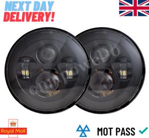 "PAIR LED BLACK Headlights RHD E MARKED 7"" H4 for Land Rover Defender 90 110"