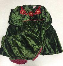 Cornelloki Holiday Dress Green Velour Red Flowers Diaper Cover 6-9m Xmas