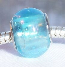 Light Blue AB Iridescent Murano Glass Bead fits Silver European Charm Bracelets