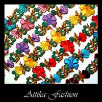 FLOWER Leaf Stem APPLIQUE MOTIF Cotton Silk EMBROIDERED LACE TRIM > IN 7 COLOURS