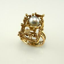 Brutalist 14K Gold Ring Baroque Salt Water Silver White Pearl Unisex 1970s 1960s