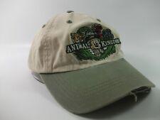 Disney Animal Kingdom Distressed Adult Hat Beige Green Strapback Baseball Cap