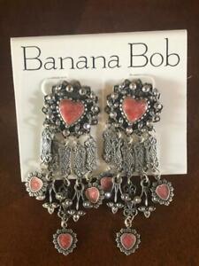 NEW - VINTAGE Banana Bob Drop & Dangle Pierced Earrings with Genuine Marcasite