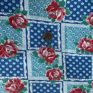 """Vintage Open Large Full Feedsack Floral Roses Dotted Checkerboard 37x53"""""""