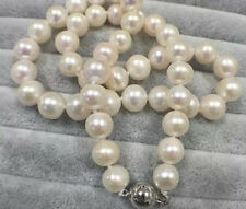 10-11mm natural akoya white round freshwater cultured pearl necklace  18""