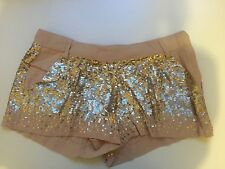 Sass & Bide Scatter Sequin Gold Shorts  - Size 8 - RRP $495