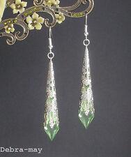 Pretty Light Green Faceted Teardrop Silver Filigree Drop Earrings in Gift Bag