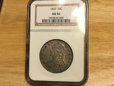 1833 Capped Bust Half Dollar NGC AU50 NO RESERVE FREE SHIPPING! NEAR WHOLESALE!!